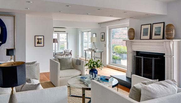 Sala de estar ático de Julia Roberts en Nueva York